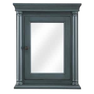 Strousse 24 in. W x 30 in. H Surface Mount Mirrored Medicine Cabinet in Distressed Blue Fog