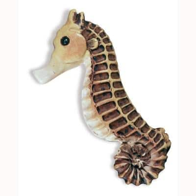 Caribe 2-9/16 in. White/Brown Seahorse Cabinet Knob