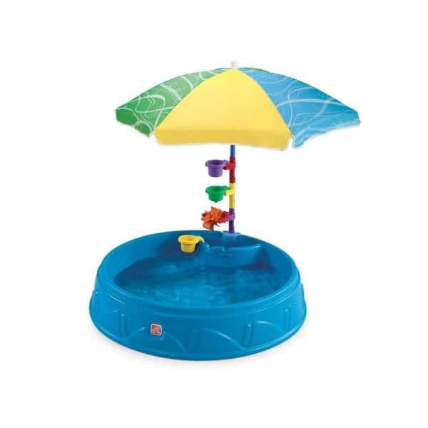 Step 2 Round Play And Shade Plastic Kiddie Pool With Umbrella 716000 The Home Depot
