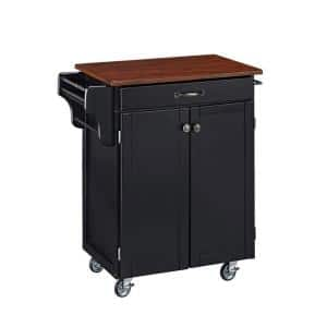 Cuisine Cart Black Kitchen Cart with Cherry Wood Top