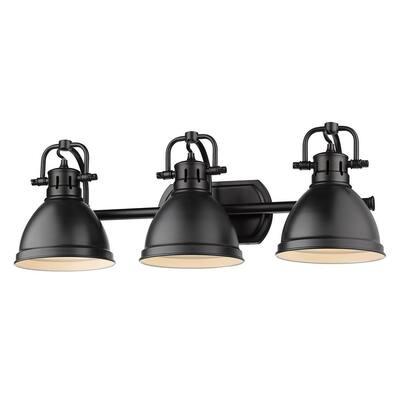 Duncan 3-Light Black Bath Light with Matte Black Shade