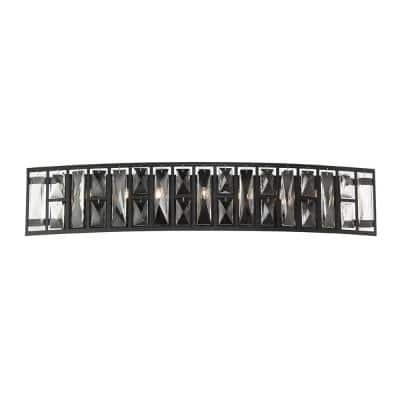 Kristella 29.5 in. 7-Light Matte Black Vanity Light with Clear Crystal Shade