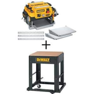 15 Amp 13 in. Heavy-Duty 2-Speed Thickness Planer with Knives and Tables and Planer Stand