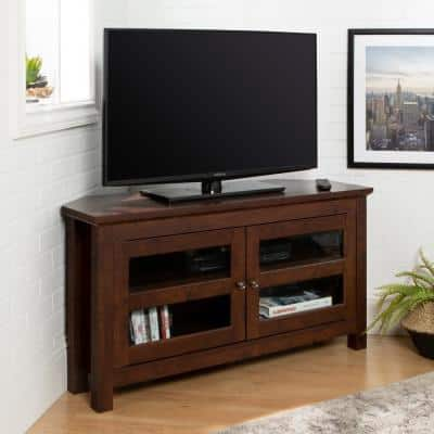 Cordoba 44 in. Traditional Brown Composite Corner TV Stand 48 in. with Corner Unit
