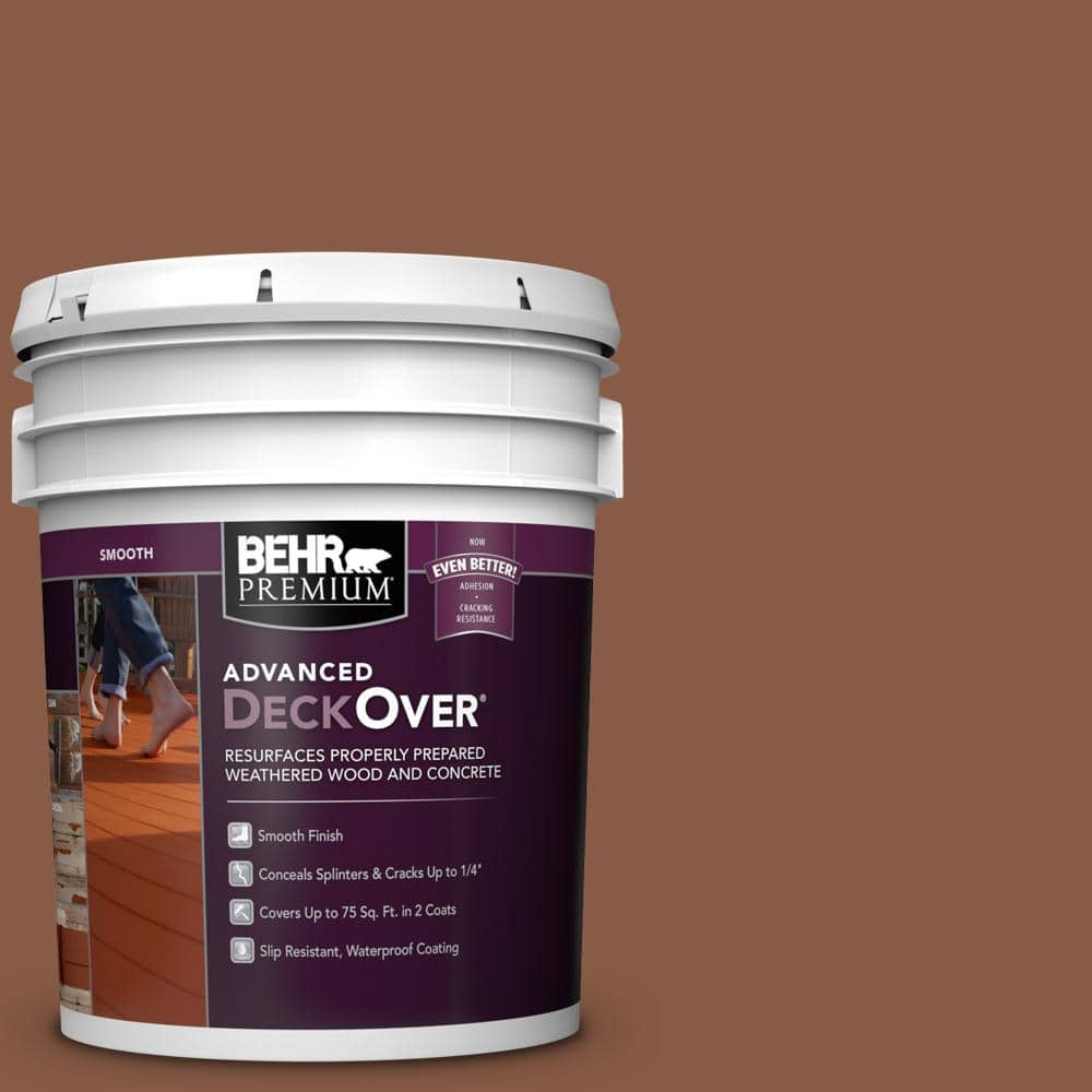BEHR PREMIUM ADVANCED DECKOVER 5 gal. #SC-142 Cappuccino Smooth Solid Color Exterior Wood and Concrete Coating