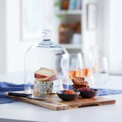 Acaciawood 4-Piece Cheese Board Serving Set with Glass Dome