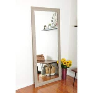 Medium Brown/White Composite Hooks Farmhouse Mirror (32 in. H X 71 in. W)