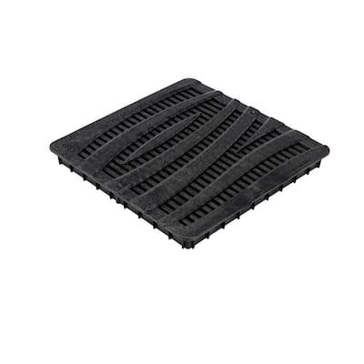 12 in. Square Catch Basin Drain Grate, Decorative Wave Design, Black Plastic