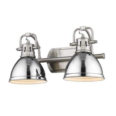 Duncan 8.5 in. 2-Light Pewter Vanity Light with White Shades