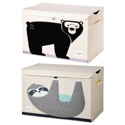 Nursery Beige Fabric Storage Trunk Toy Chest Box, Sloth and Bear (2-Pack)