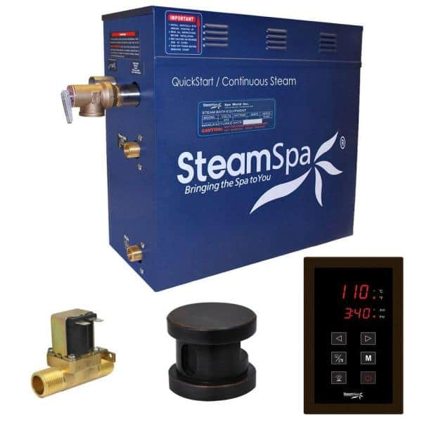 SteamSpa Oasis 6kW QuickStart Steam Bath Generator Package with Built-In Auto Drain in Polished Oil Rubbed Bronze