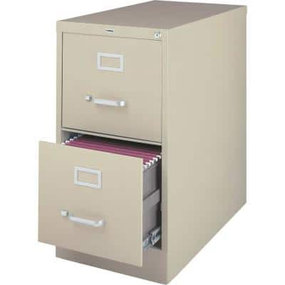 15 in. x 26-1/2 in. x 28-3/8 in. Putty Vertical File Cabinet with 2-Drawers Security Lock and Letter Files