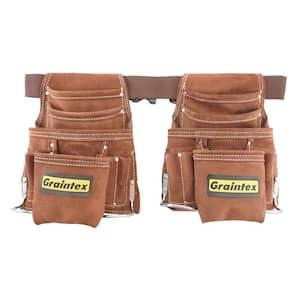 Brown 20-Pocket Suede Leather Work Apron Set