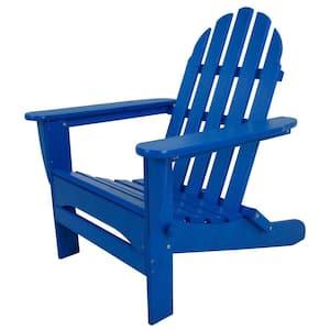 Classic Pacific Blue Folding Plastic Adirondack Chair