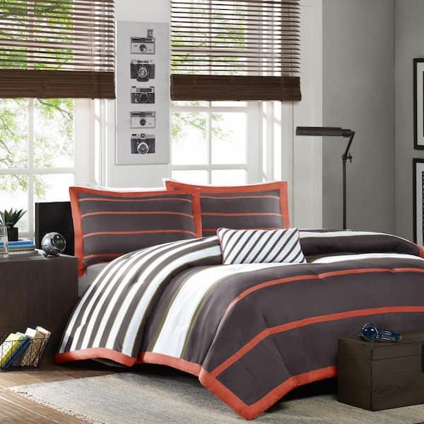 Mi Zone Jonah 4 Piece Orange Grey Full, Gray And Orange Bedding