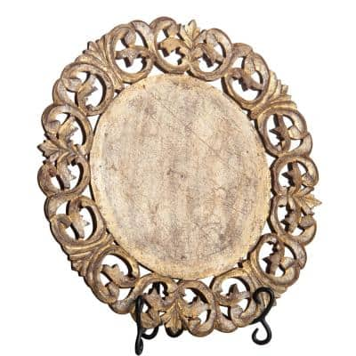 Vendome Silver and Gold Wood Round Placemat (Set of 4)