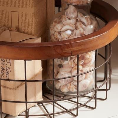 Round Bronze Metal Decorative Basket with Wood Trim (Set of 3)