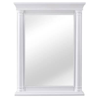 24 in. W x 32 in. H Framed Rectangular  Bathroom Vanity Mirror in White