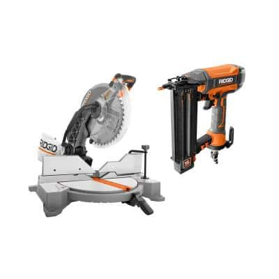15 Amp Corded 12 in. Dual Bevel Miter Saw with LED and Pneumatic 18-Gauge 2-1/8 in. Brad Nailer with Tool Bag