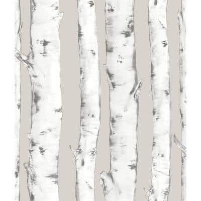 Downy Birch Neutral Peel and Stick Wallpaper