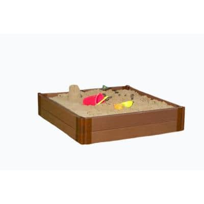 Classic Sienna 1 in. Series 4 ft. x 4 ft. x 11 in. Composite Square Sandbox Kit with Collapsible Cover