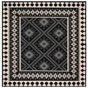 Veranda Black/Cream 8 ft. x 8 ft. Aztec Geometric Indoor/Outdoor Square Area Rug