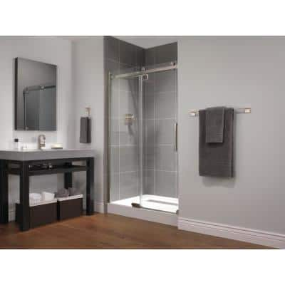 48 in. x 72 in. Frameless Sliding Shower Door in Stainless with 48 in. x 36 in. Base in White