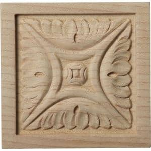 5/8 in. x 3 in. x 3 in. Unfinished Wood Maple Small Middlesborough Rosette