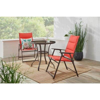 Mix and Match 3-Piece Dark Taupe Steel Padded Sling Outdoor Bistro Set in Ruby Red