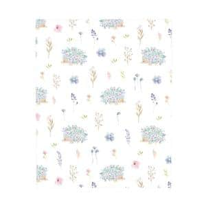 Super Soft Blue, Pink and Green Flower and Hedgehog Polyester Nursery Crib Fitted Sheet