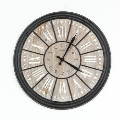 26.8 in. Dia MDF and Iron Wall Clock