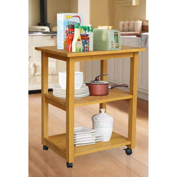International Concepts Medium Oak Solid Wood Kitchen Cart Wc04 185 The Home Depot