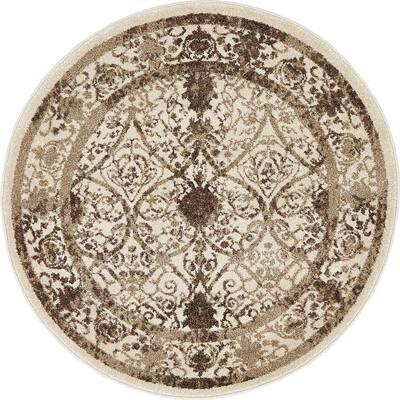 La Jolla Traditional Brown 3' 3 x 3' 3 Round Rug