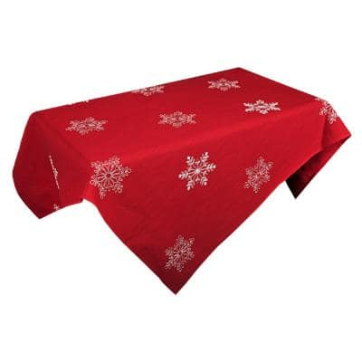 60 in. x 60 in. Snowy Noel Embroidered Snowflake Christmas Square Tablecloth in Red and White