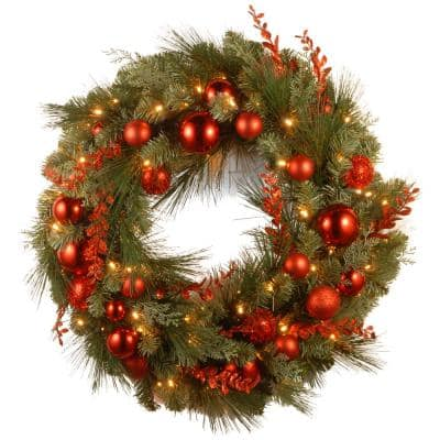 Decorative Collection Christmas Red Mixed 24 in. Artificial Wreath with Battery Operated Warm White LED Lights