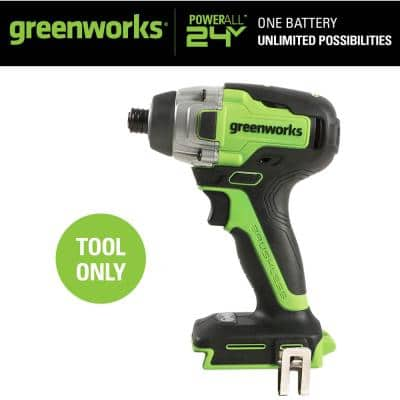 1/4 in. 24-Volt Battery Cordless Brushless Impact Driver (Tool-Only)