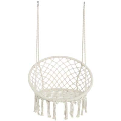 3.94 ft. Hanging Cotton Rope Hammock Swing Chair for Indoor and Outdoor