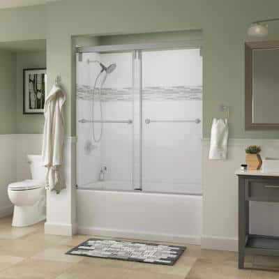 Mod 60 x 60 in. 5-Piece Tub Kit with Nickel Door, Clear Glass, White Classic 400 Left Drain Tub and UPstile Wall Set