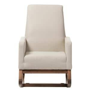 Yashiya Mid-Century Beige Fabric Upholstered Rocking Chair