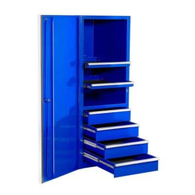 EXQ 24 in. 4-Drawer 2-Shelf Blue Professional Side Tool Chest with Chrome Handles