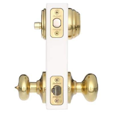 Juno Polished Brass Exterior Entry Door Knob and Single Cylinder Deadbolt Combo Pack Featuring SmartKey Security