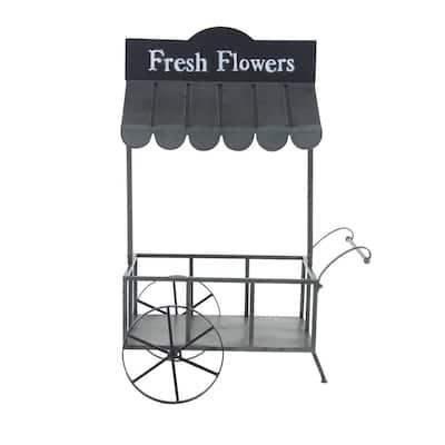 "Small Black Metal Rolling Garden Cart Plant Stand w/ Canopy & ""FRESH FLOWERS"" Farmhouse Stencil, 32"" x 44"""