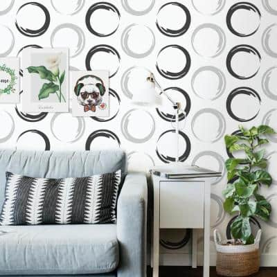 White Circles Texture Vinyl Non-Woven Strippable Roll Wallpaper (Covers 59.2 sq. ft.)