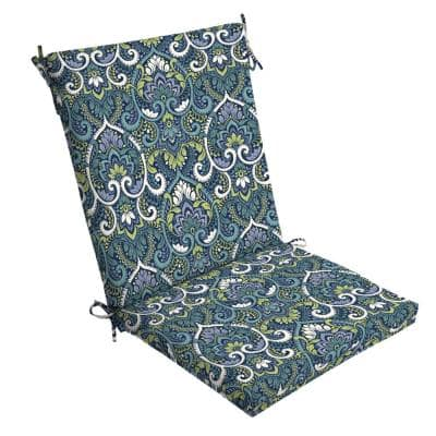 20 x 44 Sapphire Aurora Damask Outdoor Dining Chair Cushion