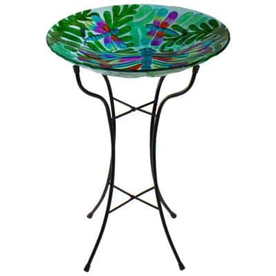 18 in. Colorful Dragonfly with Green Leaves Hand Painted Glass Outdoor Patio Birdbath