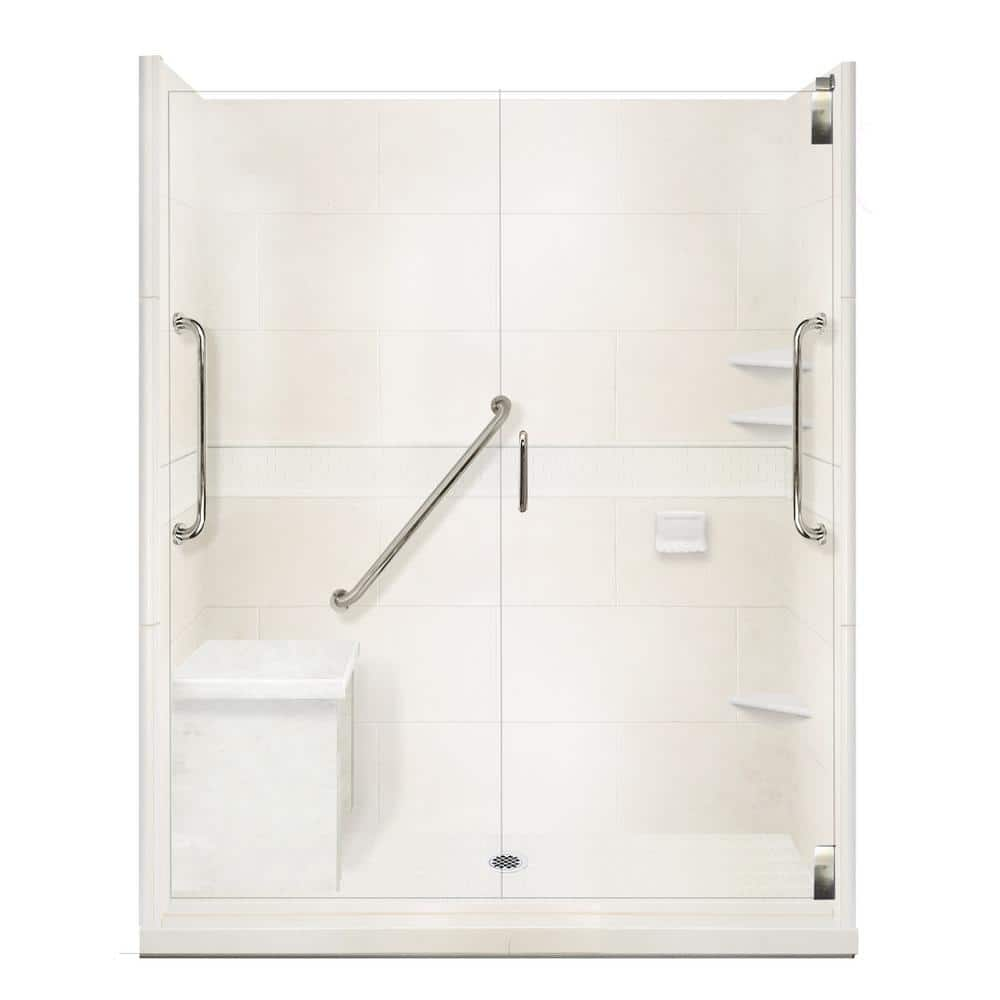 American Bath Factory Classic Freedom Grand Hinged 30 In X 60 In X 80 In Center Drain Alcove Shower Kit In Natural Buff And Chrome Afgh 6030nc Cd Ch The Home Depot