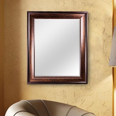 Medium Rectangle Brown Modern Mirror (34.75 in. H x 28.75 in. W)
