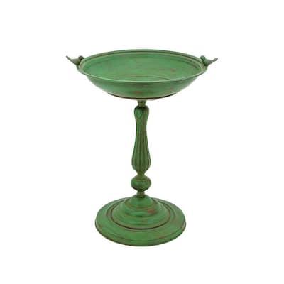Round Pedestal Birdbath with Bird Details in Green