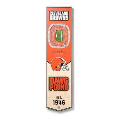 NFL Cleveland Browns 8 in. x 32 in. Wooden 3D Stadium Banner-FirstEnergy Stadium