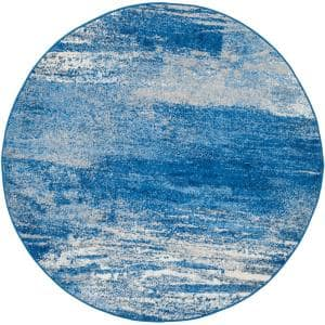 Adirondack Silver/Blue 8 ft. x 8 ft. Round Area Rug